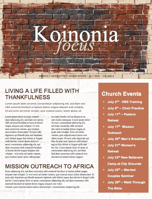 Rise Up And Build Church Newsletter Template
