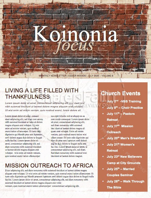Rise Up And Build Church Newsletter Template | page 1
