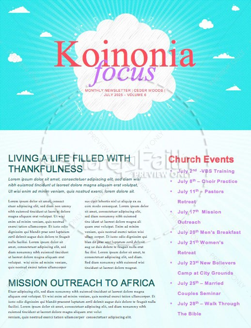 Kid's Church Service Newsletter Template | page 1