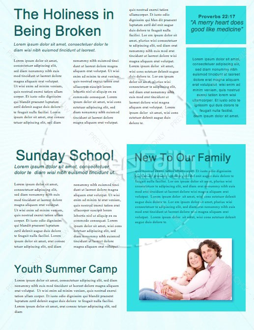 Kid's Church Service Newsletter Template