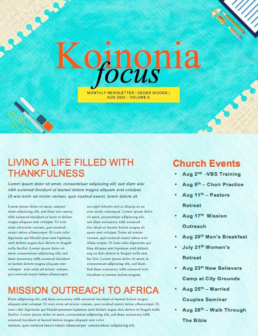 Back To School Kids Church Newsletter Template