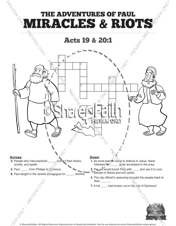 Acts 19 Miracles & Riots Sunday School Crossword Puzzles