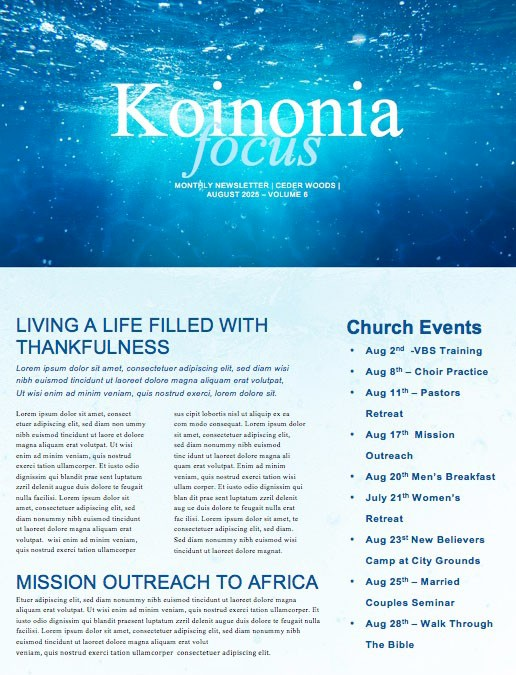 Baptism Sunday Church Newsletter