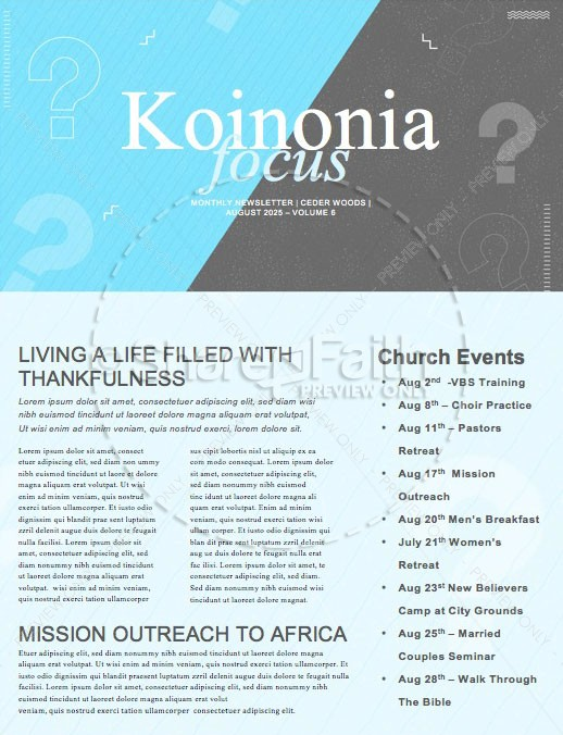 Big Questions Church Newsletter | page 1