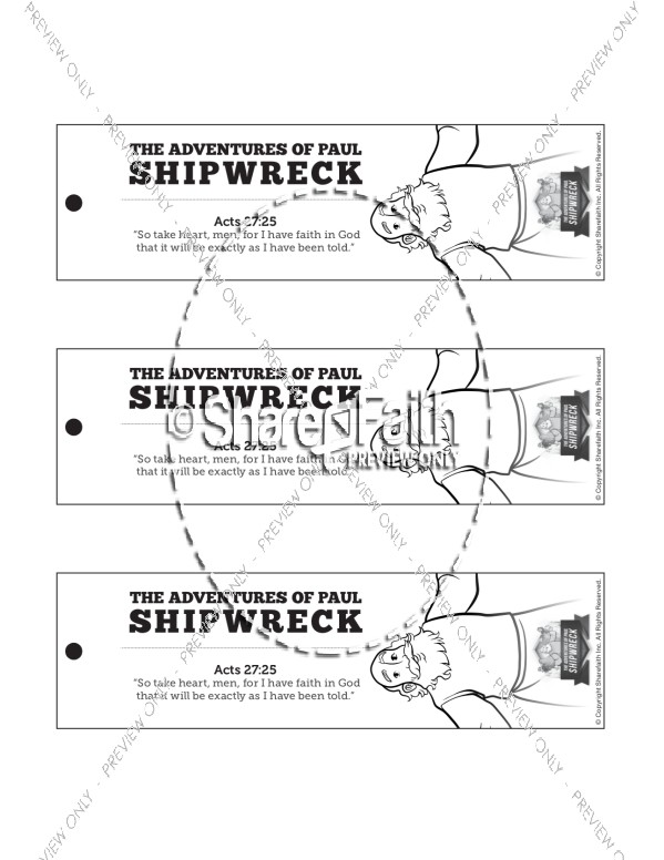 Acts 27 Shipwreck Bible Bookmarks