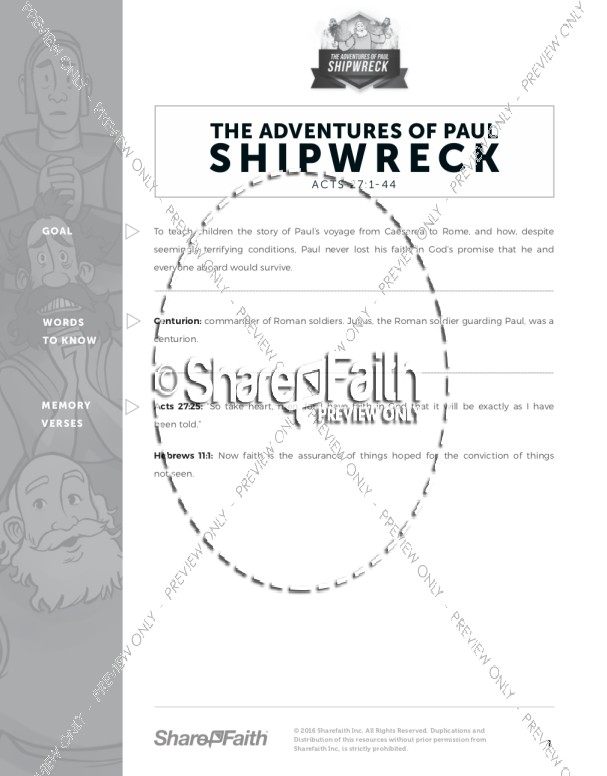 Acts 27 Shipwreck Curriculum