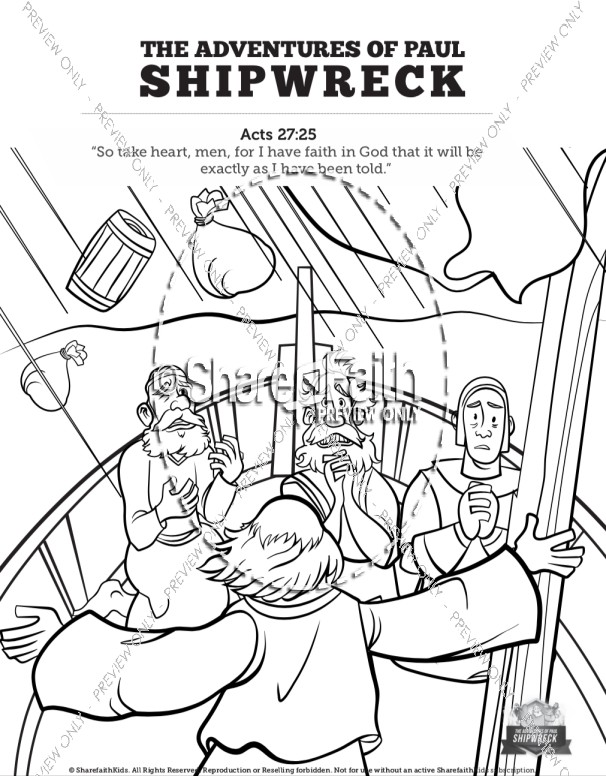 Acts 27 Shipwreck Sunday School Coloring Pages