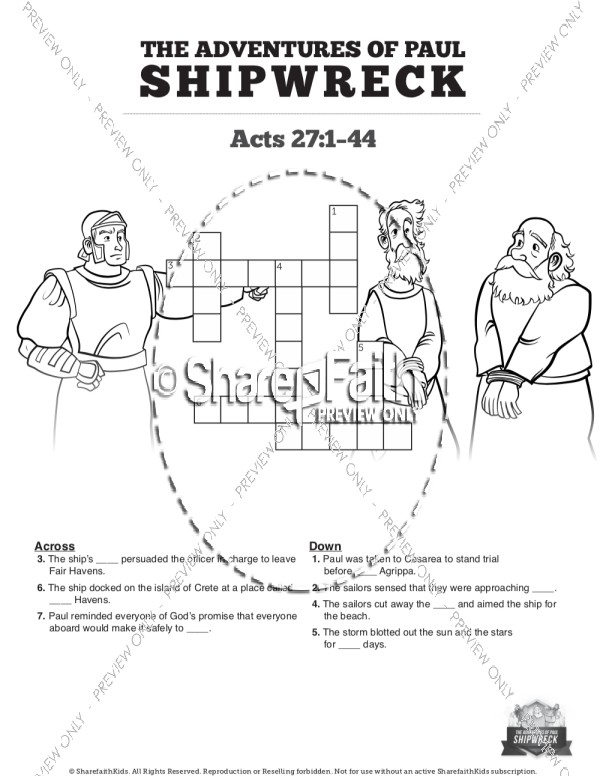 Acts 27 Shipwreck Sunday School Crossword Puzzles