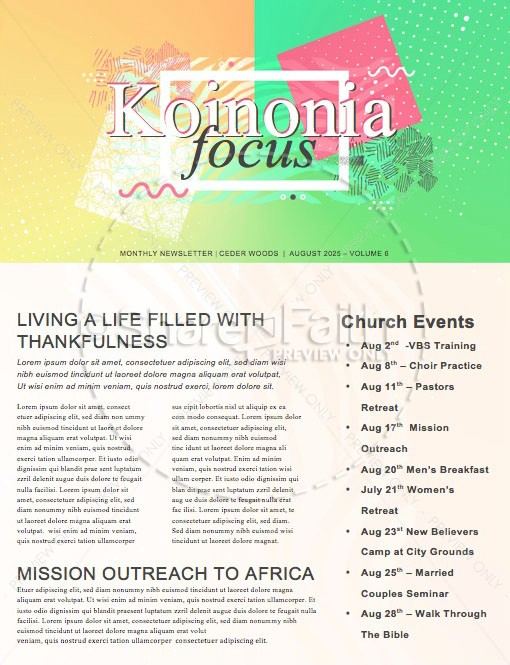 Student Ministry Church Newsletter