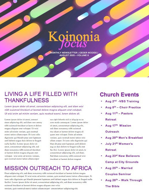 Fall Ministry Launch Church Newsletter