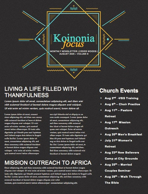 Anointed By The Spirit Newsletter Template