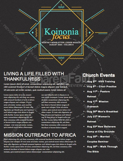 Anointed By The Spirit Newsletter Template | page 1