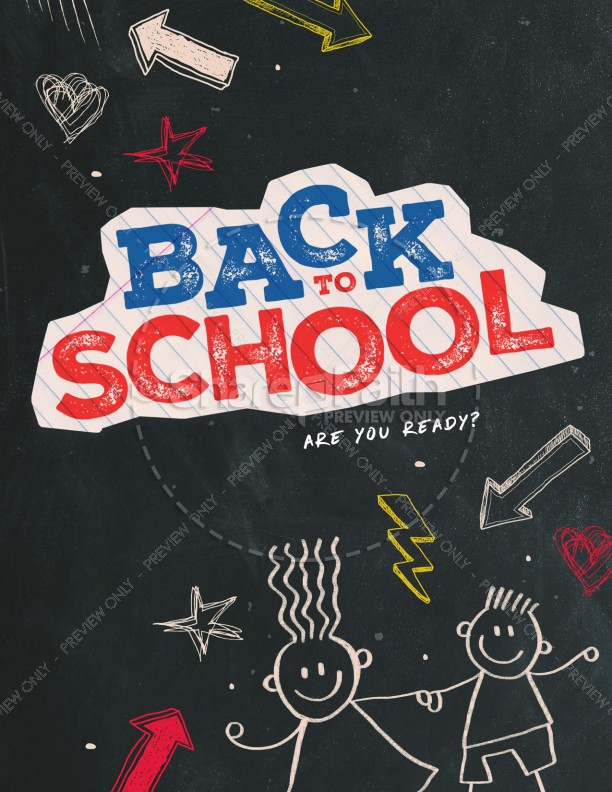 Back To School Chalkboard Art Church Flyer