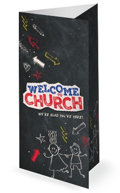 Back To School Chalkboard Art Church Trifold Bulletin