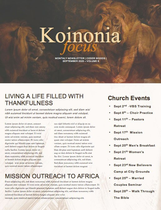 Book Of Daniel Lion's Den Church Newsletter