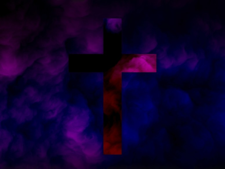 Violet Cross Abstract Clouds Worship Background