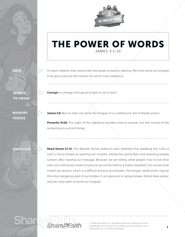 James 3 The Power of Words Curriculum