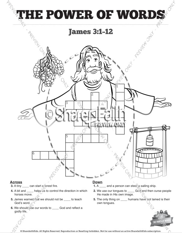 James 3 The Power of Words Sunday School Crossword Puzzles
