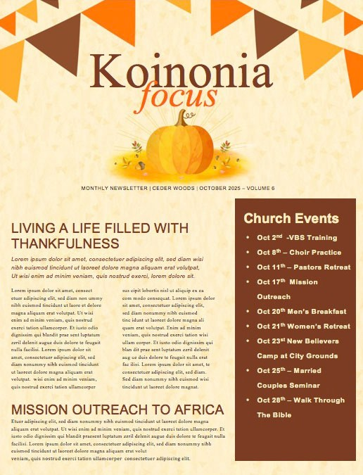Harvest Party Pumpkin Newsletter