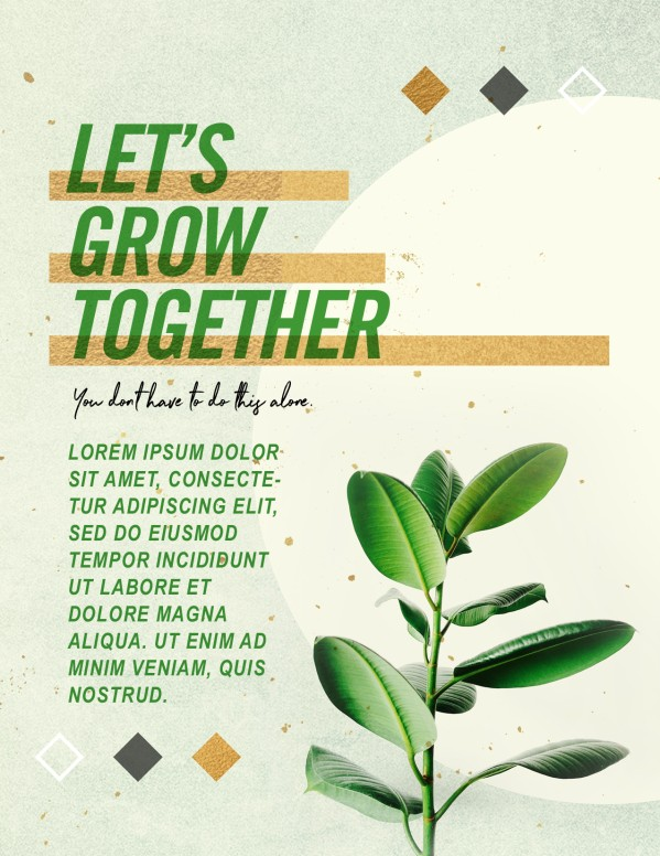 Let's Grow Together Church Flyer Template