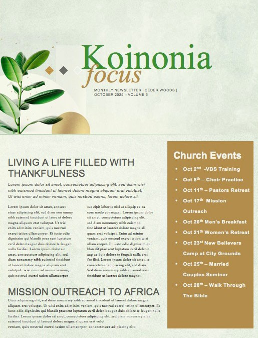Let's Grow Together Church Newsletter Template