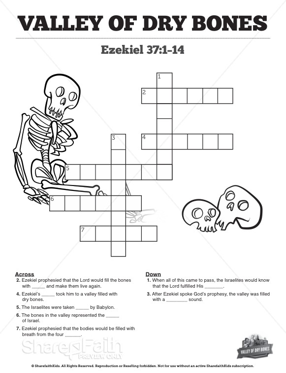 Ezekiel 37 Valley of Dry Bones Sunday School Crossword Puzzles