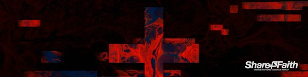 Moving Textures Red Ink Cross Triple Wide Motion Graphic