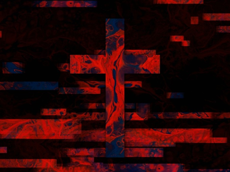 Red Ink Cross Textured Worship Background