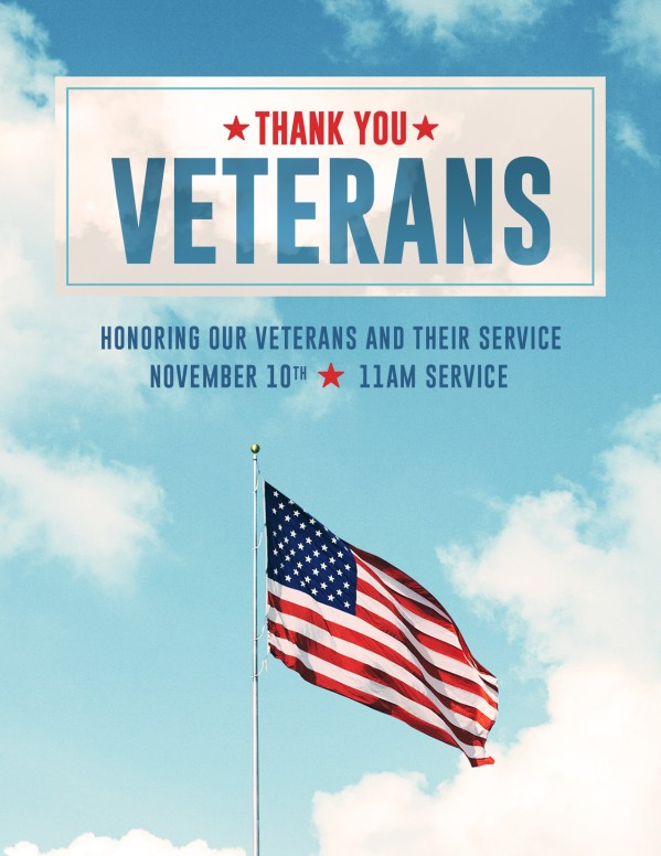 Veterans Day American Flag Flyer Template