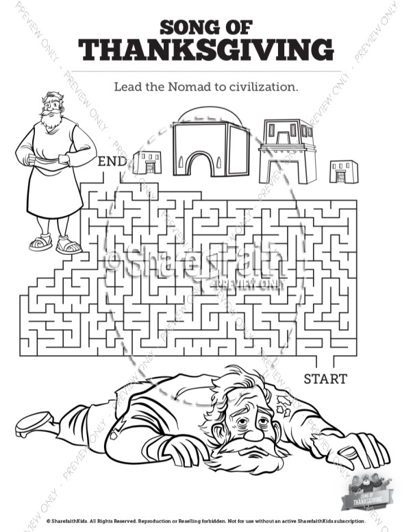 Psalm 107 Song of Thanksgiving Bible Mazes