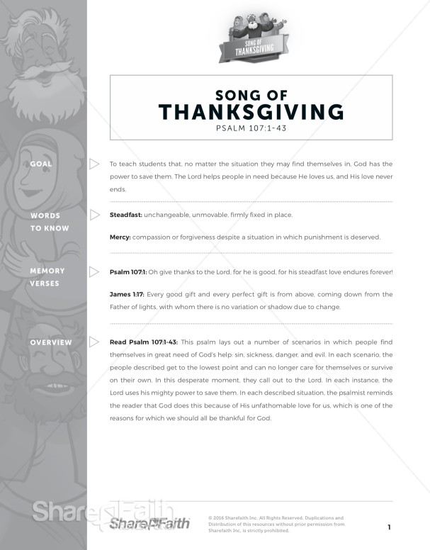 Psalm 107 Song of Thanksgiving Curriculum