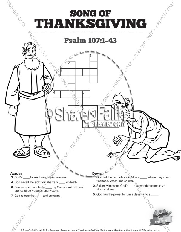 Psalm 107 Song of Thanksgiving Sunday School Crossword Puzzles