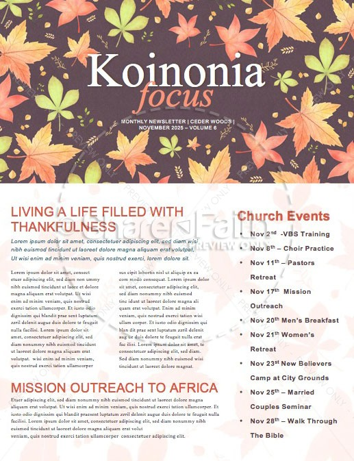Happy Thanksgiving Holiday Newsletter Template