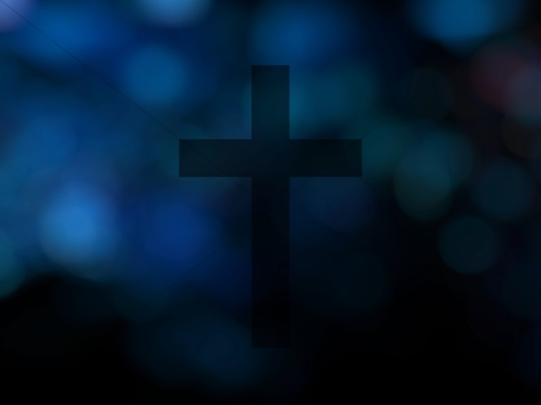Blue Cross Bokeh Worship Background