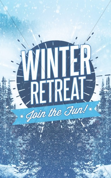 Winter Retreat Snowy Church Bulletin