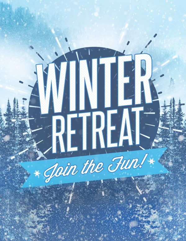 Winter Retreat Snowy Church Flyer