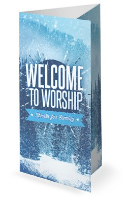Winter Retreat Snowy Church Trifold Bulletin