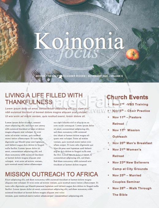 Thanksgiving Dinner Church Newsletter