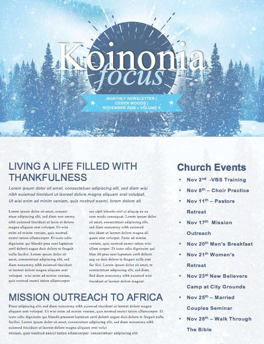 Winter Retreat Snowy Church Newsletter