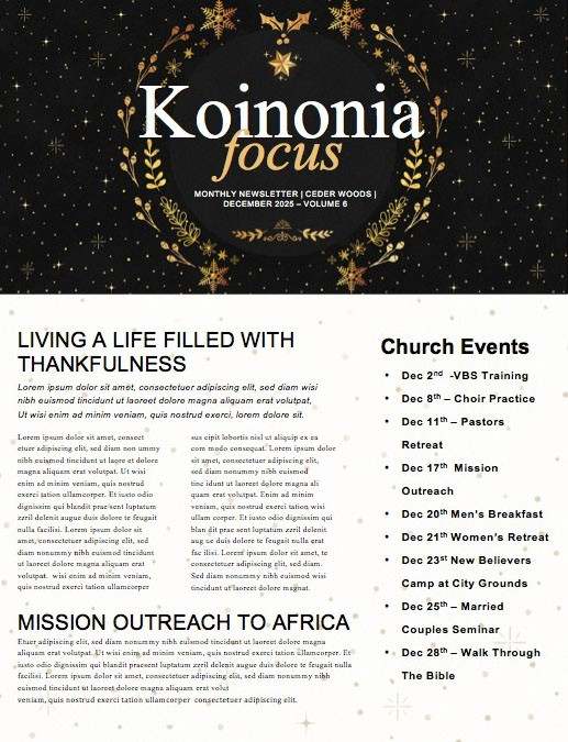 Christmas Eve Service Newsletter Template