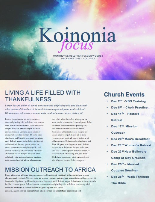 Advent Christmas Church Newsletter Template