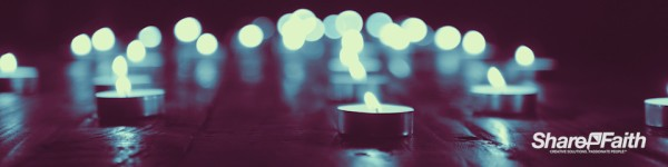 Christmas Candle Blue Flame Triple Wide Worship Video