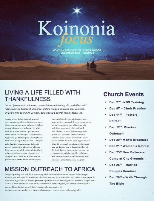 Christmas Journey Church Newsletter