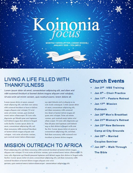 Happy New Year Winter Church Newsletter
