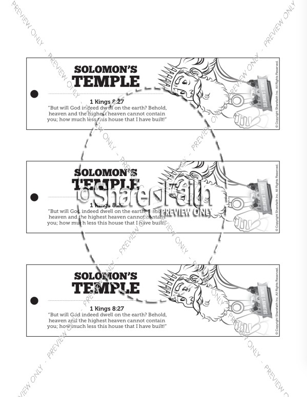 1 Kings 8 Solomon's Temple Bible Bookmarks