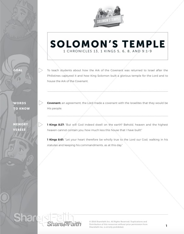 1 Kings 8 Solomon's Temple Curriculum