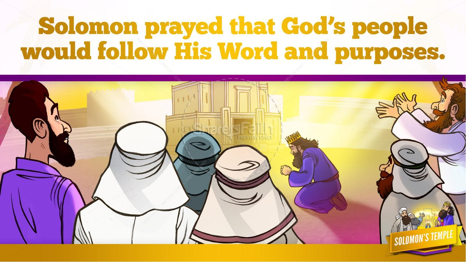 1 Kings 8 Solomon's Temple Kids Bible Story | slide 32