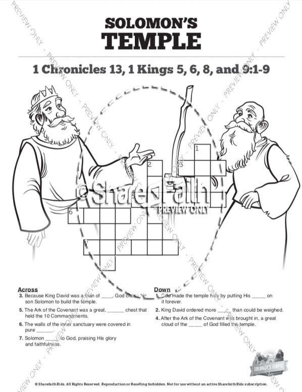 1 Kings 8 Solomon's Temple Sunday School Crossword Puzzles
