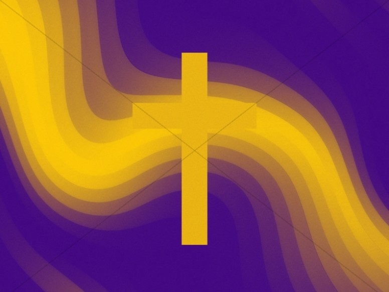 Pixel Waves Yellow Cross Worship Background