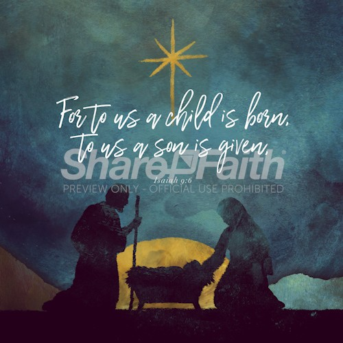 A Child Is Born Christmas Social Graphic
